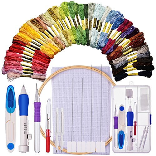 Bememo Embroidery Starter Kit Cross Stitching Sewing Kit Includes Embroidery Stitching Punch Needle Set, Bamboo Embroidery Hoop, 50 Color Threads, Cross Stitch Cloth, Stitch Ripper and Scissor by Bememo
