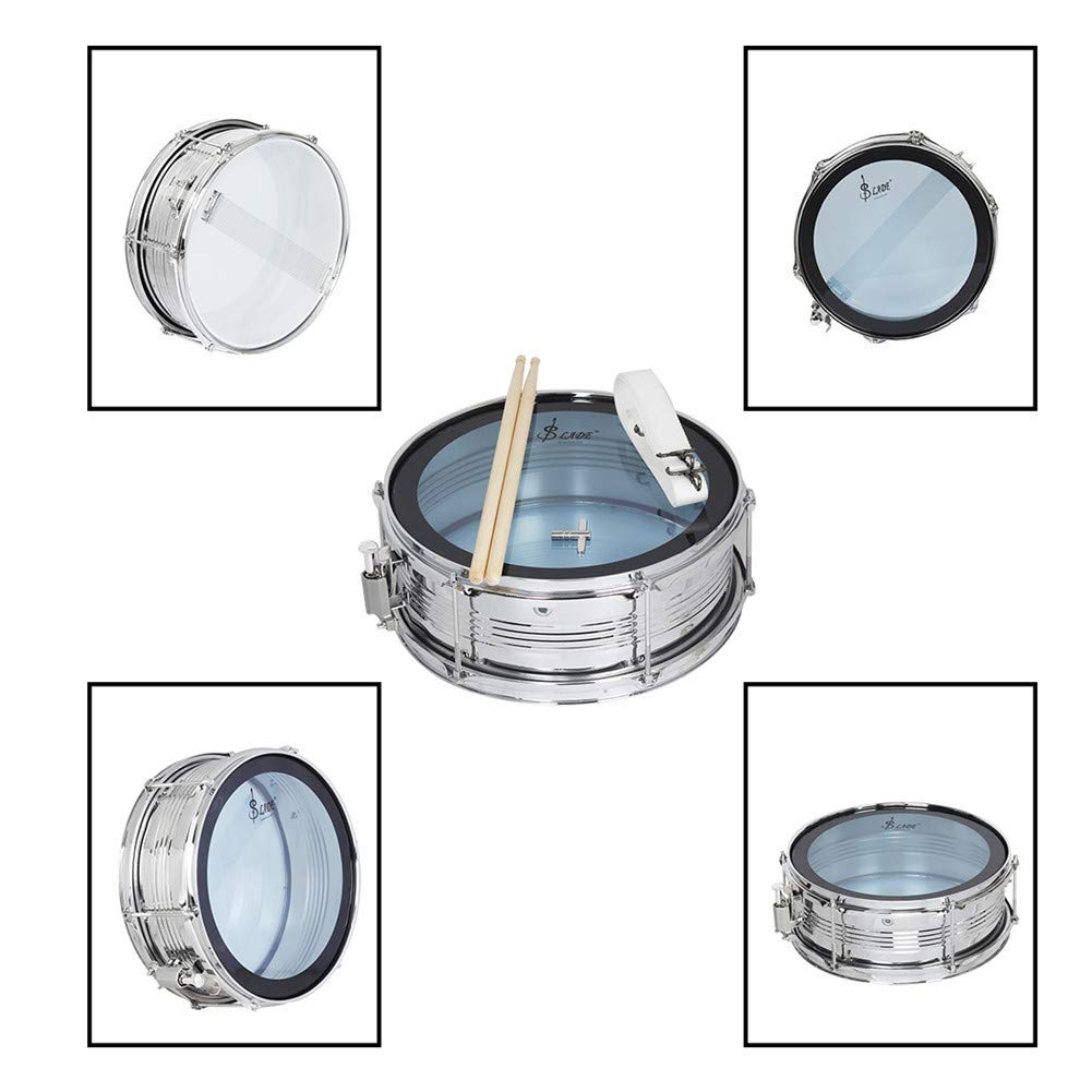MG.QING Professional Snare Drum, Student Band, Military Drum Head, with Drumsticks, Tuning Keys, Strap,Blue by MG.QING (Image #2)