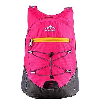 Mochila Plegable, Jayboson Mochila Bolsa Plegable Impermeable Unisexo Ultra Ligero de Nylon para Trekking Viajes al Aire Libre Ciclismo 20L (Rosado): ...