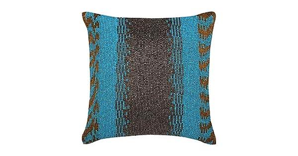 Amazon.com: Diseñador Aqua Azul Cojines Cover, Beaded ...