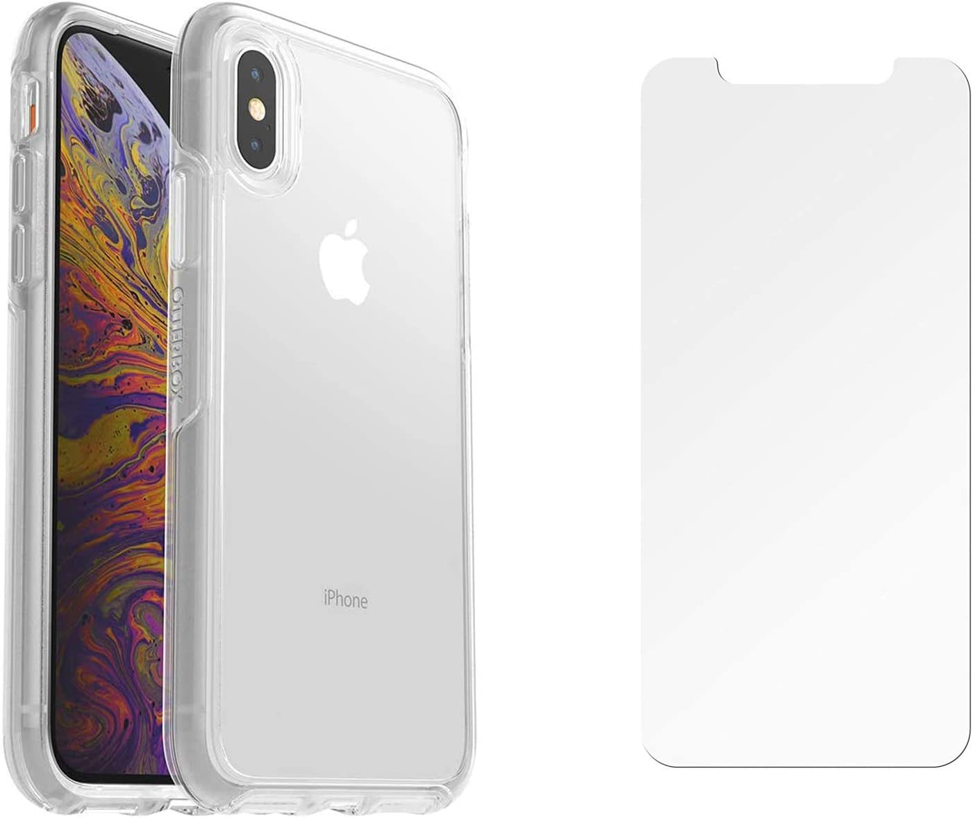 OtterBox Symmetry Clear Series Case for iPhone X & iPhone Xs with Alpha Glass Screen Protector Bundle - Eco-Friendly Packaging - Clear