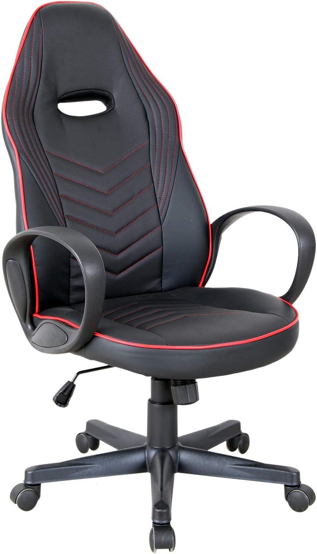 Vinsetto Gaming Stuhl Ergonomischer Computerstuhl mit Wippenfunktion Drehstuhl h/öhenverstellbar Stahl Schwarz+Grau 67 x 75 x 106-112 cm