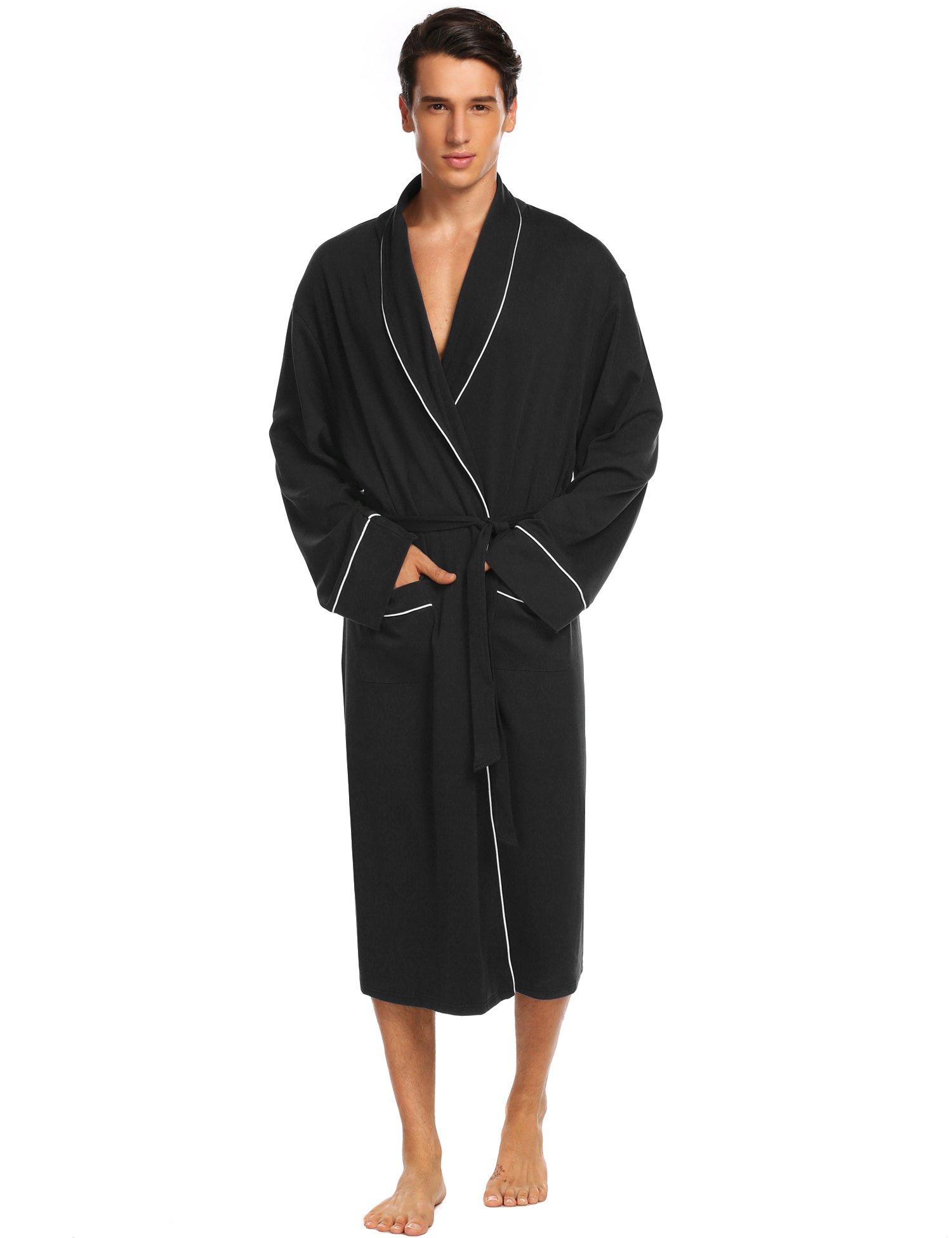 Untlet Bathrobe Mens Cotton Spa Robes Lightweight Bath Robe Lounge Sleepwear (Medium, Black)