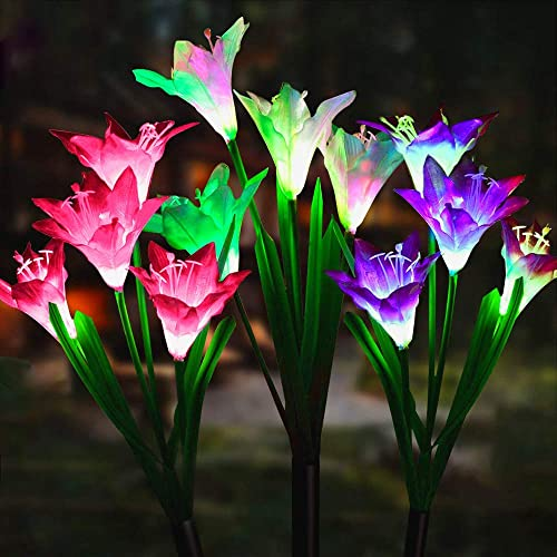 Solhice 3 Pack Solar Lily Flowers Light Outdoor, Changing Colors LED Garden Stake Lights, Solar Powered Artificial Flower Lights Landscape Decorative