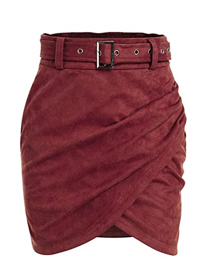 53bfe1eb0 BerryGo Women's High Waist Faux Suede Mini Skirt Wrap Pencil Skirt with  Belt at Amazon Women's Clothing store: