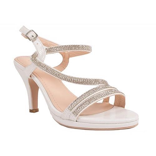 Primtex Chaussures Mariage Femme Strass   Fines lanières croisées Petit  talon-36 4a2e2139f9f9