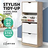 Artiss 60 Pairs Shoe Cabinet Rack Organiser Storage Shelf Wooden