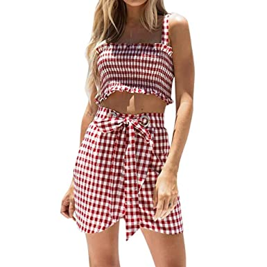 Rtyou New Style 2pcs Women Ladies Plaid Tops Blouse Casual Sexy