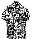 LA LEELA Likre Aloha Dress Shirt Black 176 Large | Chest 44'' - 48''