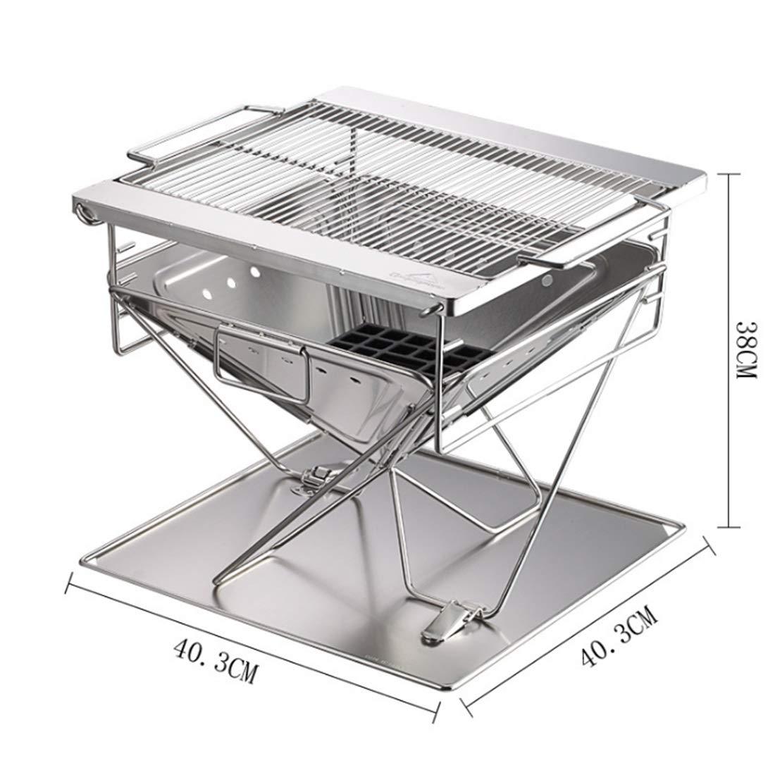 Igspfbjn Rostfreier Stahl-faltender Grill-Grill Ourdoot und Innenbenutzter BBQ-Ofen (Größe : 46  41  38cm)