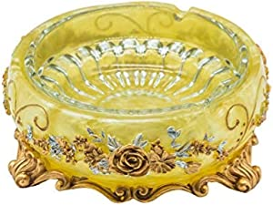 YHGTLL Ashtray Tray Home Big Size in Bulk Decor Gift Large for Cigars Tobacco Cigarette Accessories Unique Art Resin Indoor Table Cool Design Antique Luxury Girly Novelty Vintage Plate Kit Set,Yellow