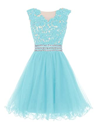 Cdress Homecoming Dresses Short Tulle Cocktail Dress Junior Applique Beded Prom Gowns Aqua US 2