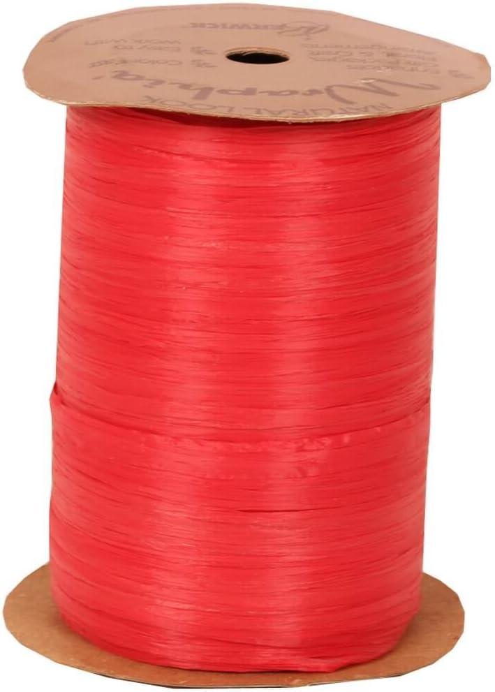Berwick Offray 1//4 Wide Matte Raffia Ribbon 100 Yards Burgundy Red