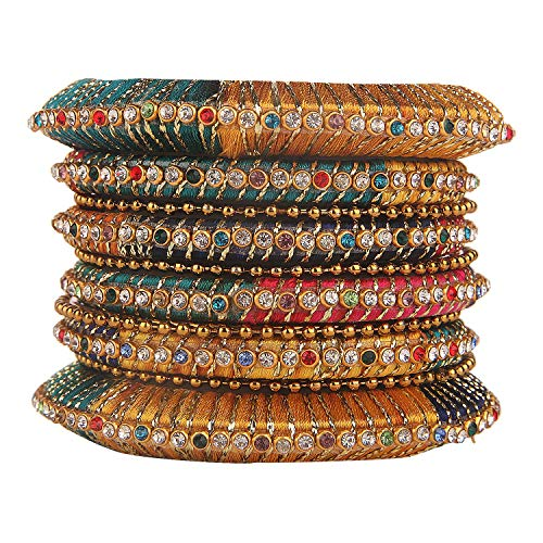 (Efulgenz Fashion Jewelry Indian Bollywood Gold Plated Crystal Beaded Multicolor Silk Thread Bracelet Bangle Set (10 Pcs))