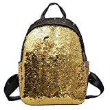 Fashion Women Girls Sequin Backpack - Saihui Stylish Shiny Glitter Bling Rucksack Travel Shopping Bags for School Teen Girl Woman Sparkle Casual Daypack (Gold)