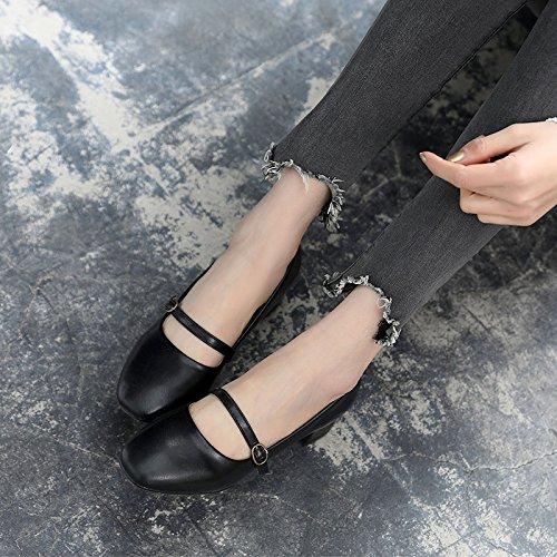 Zapatos De A Superficial Mujer De La Mujer Zapatos Solo Día Negro Hijos Gruesos GAOLIM Boca Con De Ranuras Día Primavera El Zapatos En Con Zapatos Para gq7WxPv6