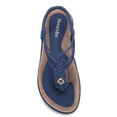 8f57d836 Netursho Summer Sandals for Women, Flat Sandals Flip Flops Thongs Clip Toe  Slip On Elastic