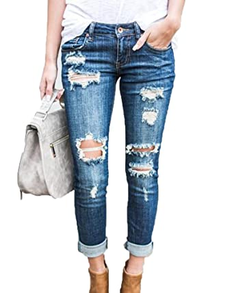a589eee4f69b Jeans Déchiré Femme Boyfriend en Denim Pantalons Slim Crayon Pantalon  Skinny Bleu Clair S