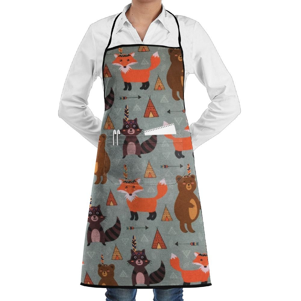 NRIEG Cartoon Fox Bear Adjustable 2 Pockets For Men And Women's Kitchen Apron Garden Apron Pocket.Waterproof And Durable Simple Care
