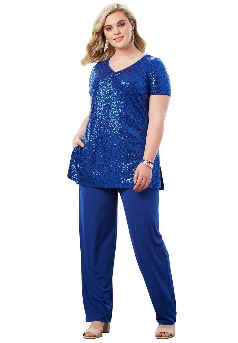 Roamans Women's Plus Size Sequin Pant Set - Dark Sapphire, 20 W