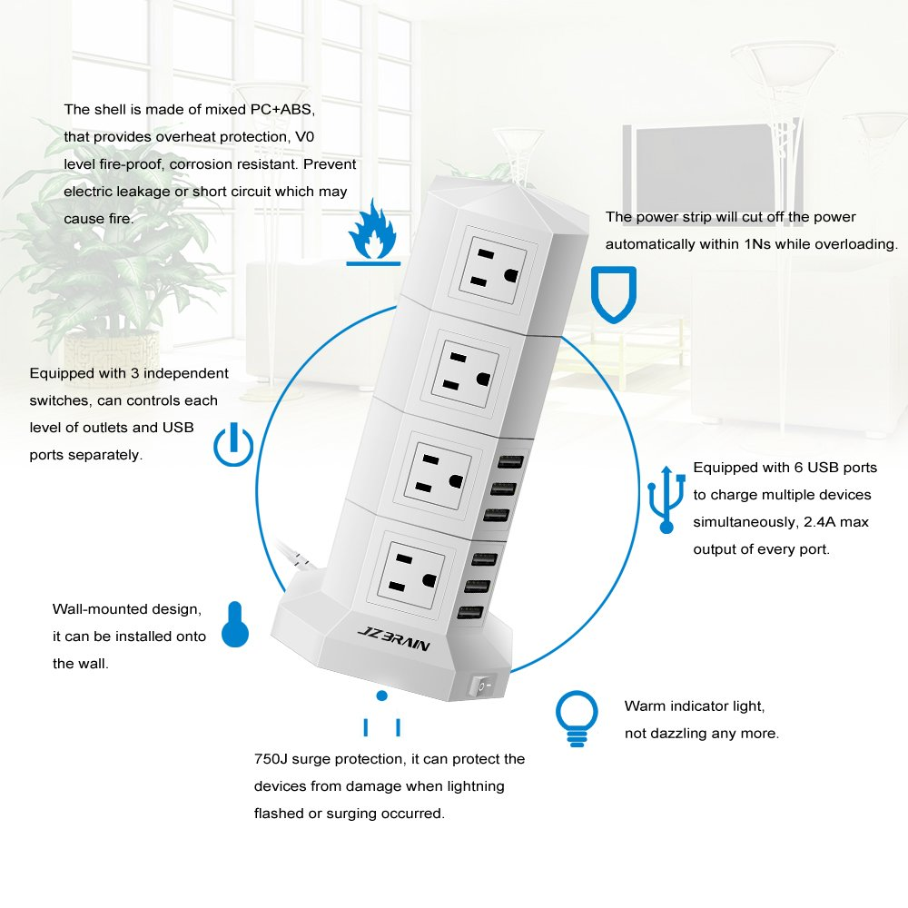 Usb Surge Protector Wiring Diagram Wire Center Jzbrain 16 Outlet 6 Tower Power Strip Rh Amazon Com Schematic Symbols Whole House Connection