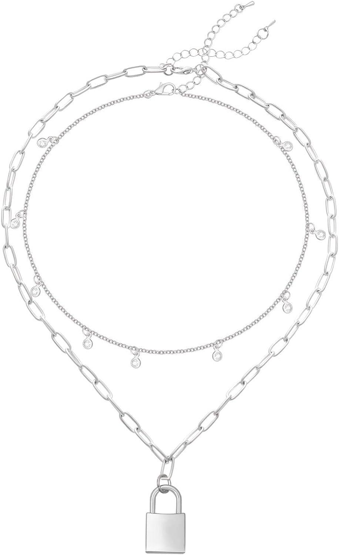 Lock Pendant Necklace Star...