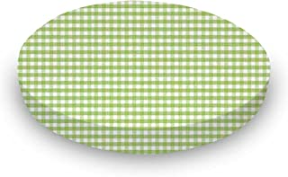 product image for Fitted Oval Crib Sheet (Stokke Sleepi) - Sage Gingham Jersey Knit - Made In USA