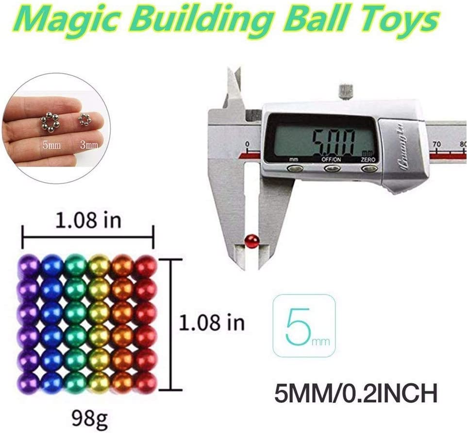 Magnetic Balls 5mm Fidget Gadget Toys Rare Earth Magnet Marbles Desk Toy Games Magnetic Beads Stress Relief Toys for Adults 5mm 512pcs