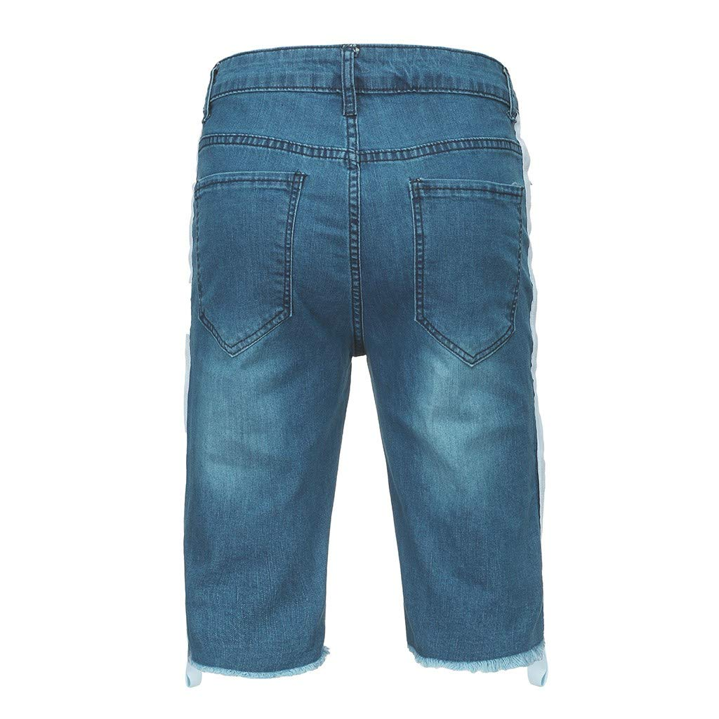 DIOMOR Mens Fashion 9 Inseam Shredded Denim Shorts Summer Classic Relaxed Fit Jeans Pants Outdoor Hollow Trunks