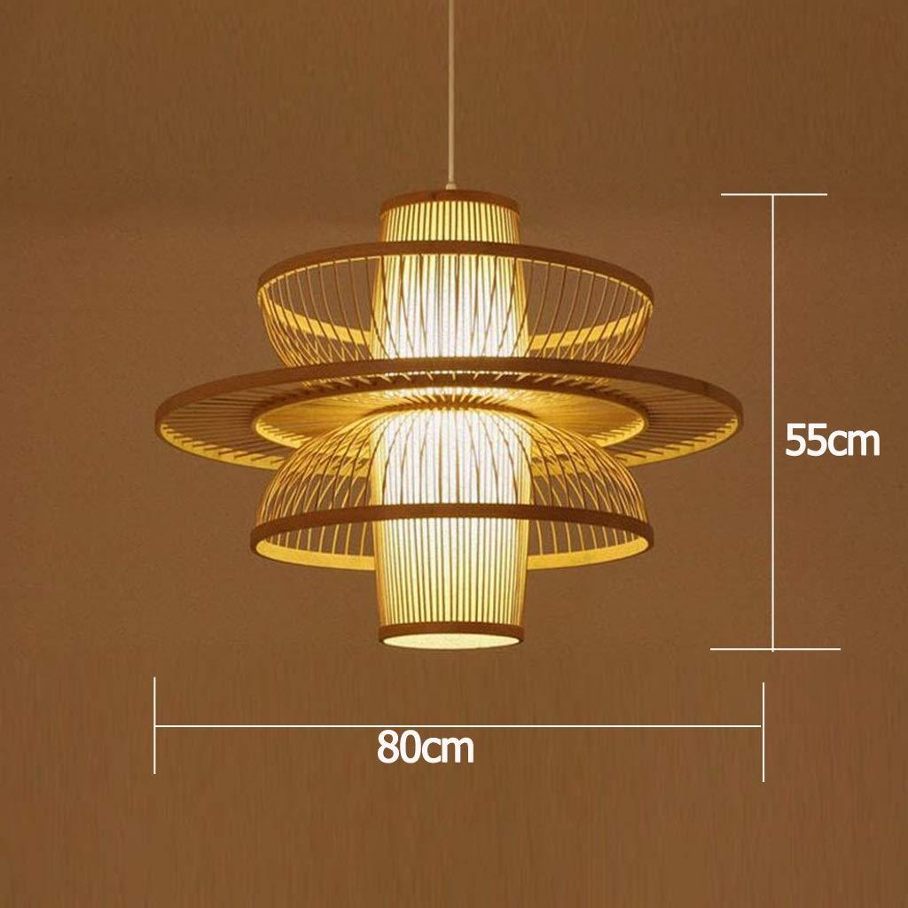 taille : A Lustre Suspension Plafonnier Bambou Osier Rotin Abat-Jour Suspension Luminaire Lampe Art D/éco