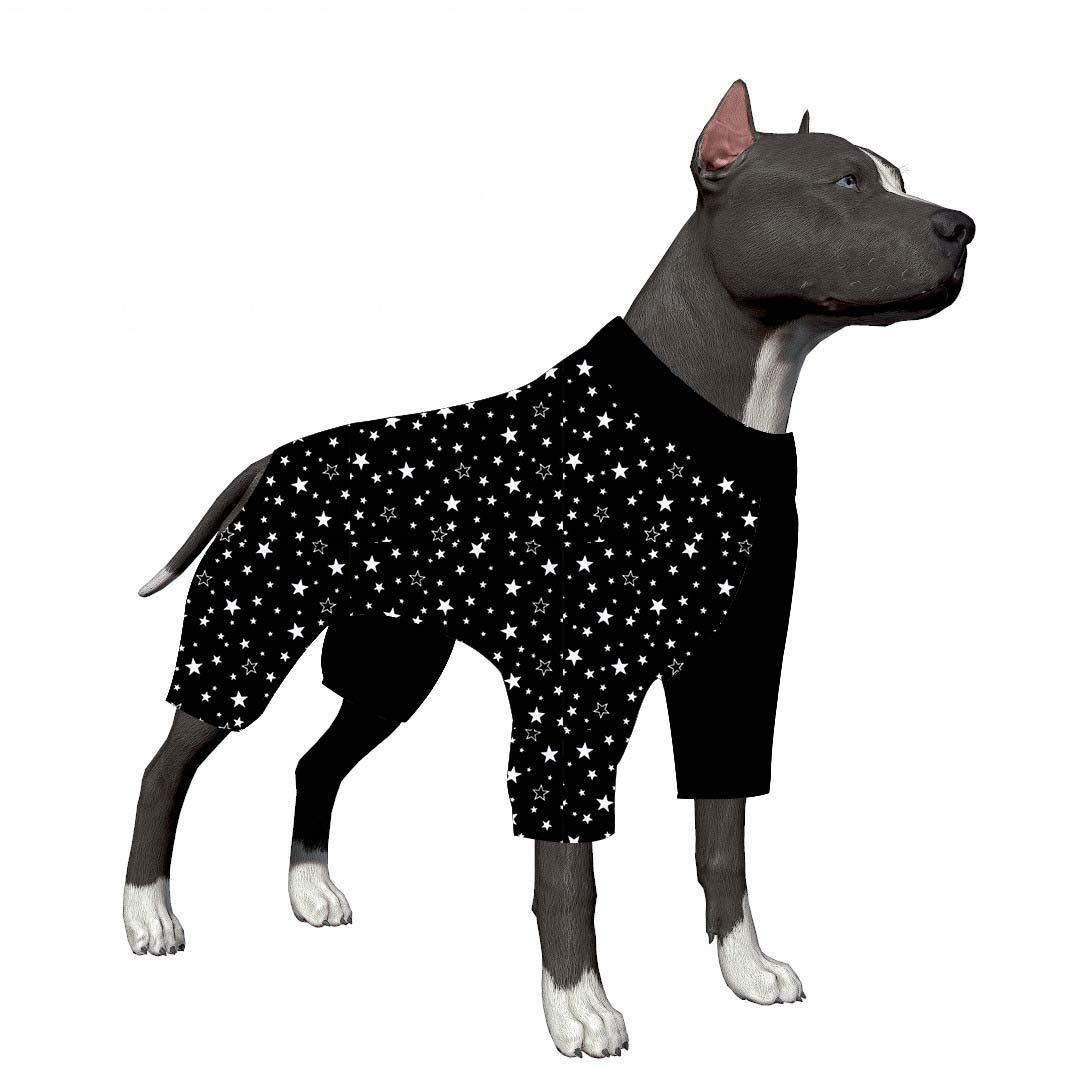 LovinPet Big Dog Pajamas, Stylish Star Print Dog Pajamas, Slim fit, Lightweight Pullover Pajamas/Full Coverage Dog pjs/Please Reese Size Chart Before Ordering