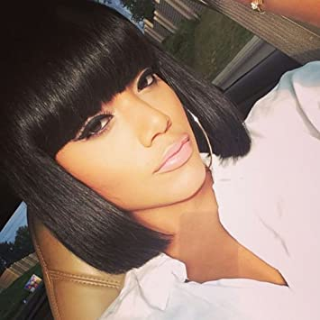 Amecire Short Black Bob Wigs with Bangs for Black Women Synthetic Straight  Red Bob Hair African