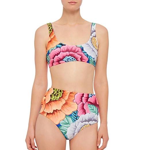 aa392a24d9 Amazon.com: SINMA Women Sexy Push-Up Padded Floral Print Bra Swimwear 2-PCS  Swimsuit Bikini Set: Clothing