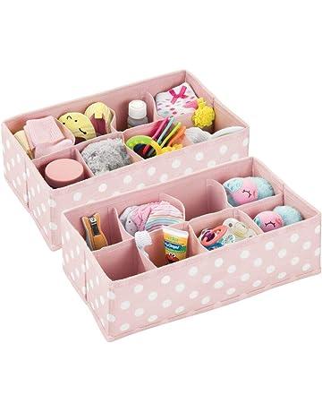Kinderschrank Organizer aus atmungsaktiver Kunstfaser lila//wei/ß gepunktet mDesign 8er-Set Aufbewahrungsbox f/ürs Kinderzimmer Kinderzimmer Aufbewahrungsbox in 2 Gr/ö/ßen f/ür Babykleidung