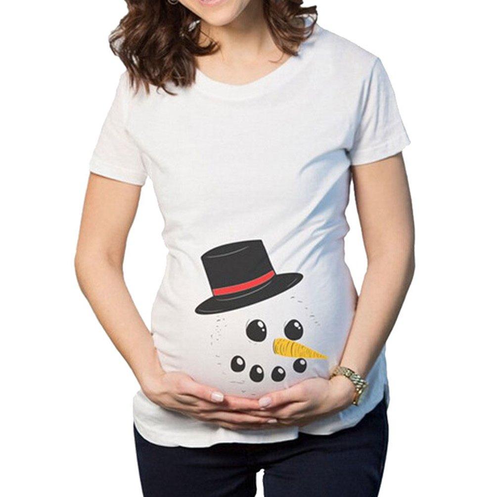 Binhee Mutterschaft Nette Lustige Kurzarm Weihnachten Schneemann Hut Muster Damen Schwangerschaft T-Shirt