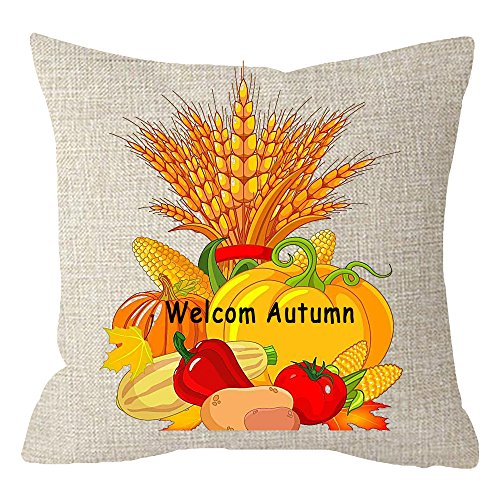ITFRO Nice Gift Welcome Autumn Harvest Season Vegetables Crop Wheat Pumpkins Tomatoes Fall Leaves Body Cotton Linen Throw Pillow Case Cushion Cover Couch Sofa Decorative Square 18 inches