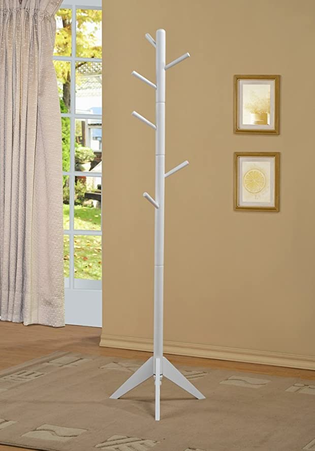 White Finish Coat Rack Hall Tree Purse Jacket by Phuchema