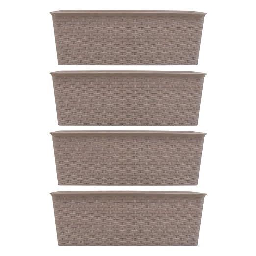 Q-Sharp - Juego de 4 macetas rectangulares de plástico de ...