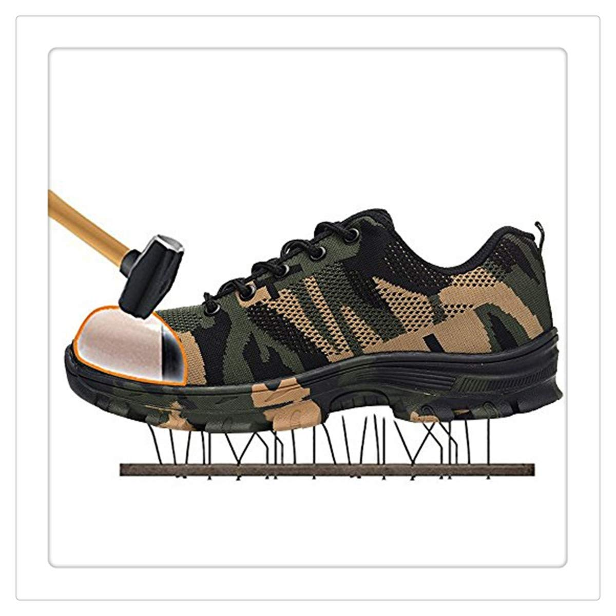 Uciquzhon Camouflage Steel Toe Shoes Men Work Boots Breathable Work Safety Shoes