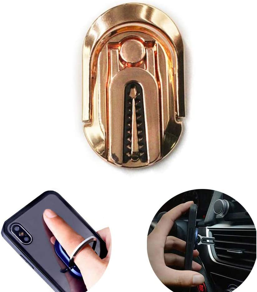 FW ZONE Phone Ring Holder Multipurpose Smartphone Bracket Car Air Vent Holder Universal 360 Degree Rotation Ring Grip Compatible with iPhone Sumsung Rose Gold