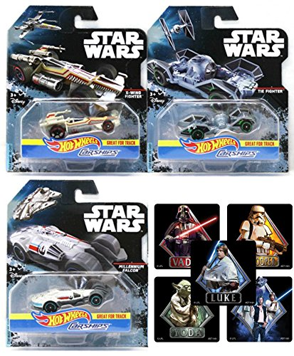 MATTEL - HOT WHEELS - DISNEY - STAR WARS - CARSHIPS Star Wars Spaceship Car Set - Tie Fighter Millennium Falcon & X-Wing Fighter DIE-CAST with Stickers ships