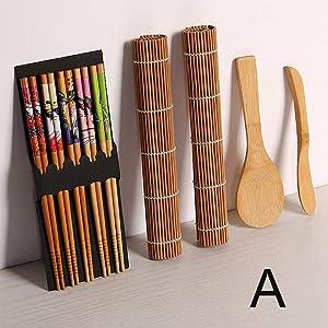 ZEYOU 9pcs/Set Japanese Sushi Tool Set,DIY Bamboo Spoon Cooking Roll Chopsticks Sushi Maker Set Rolling Mats Rice Mold Sushi Making Kits(A)
