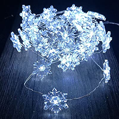 Snowflake String Lights, Silver Plated Copper Wire 10 ft 40Cold White LEDs with Remote Fairy Lights for Indoor, Outdoor Christmas, Wedding, Birthday, Home Parties Decorating (White)