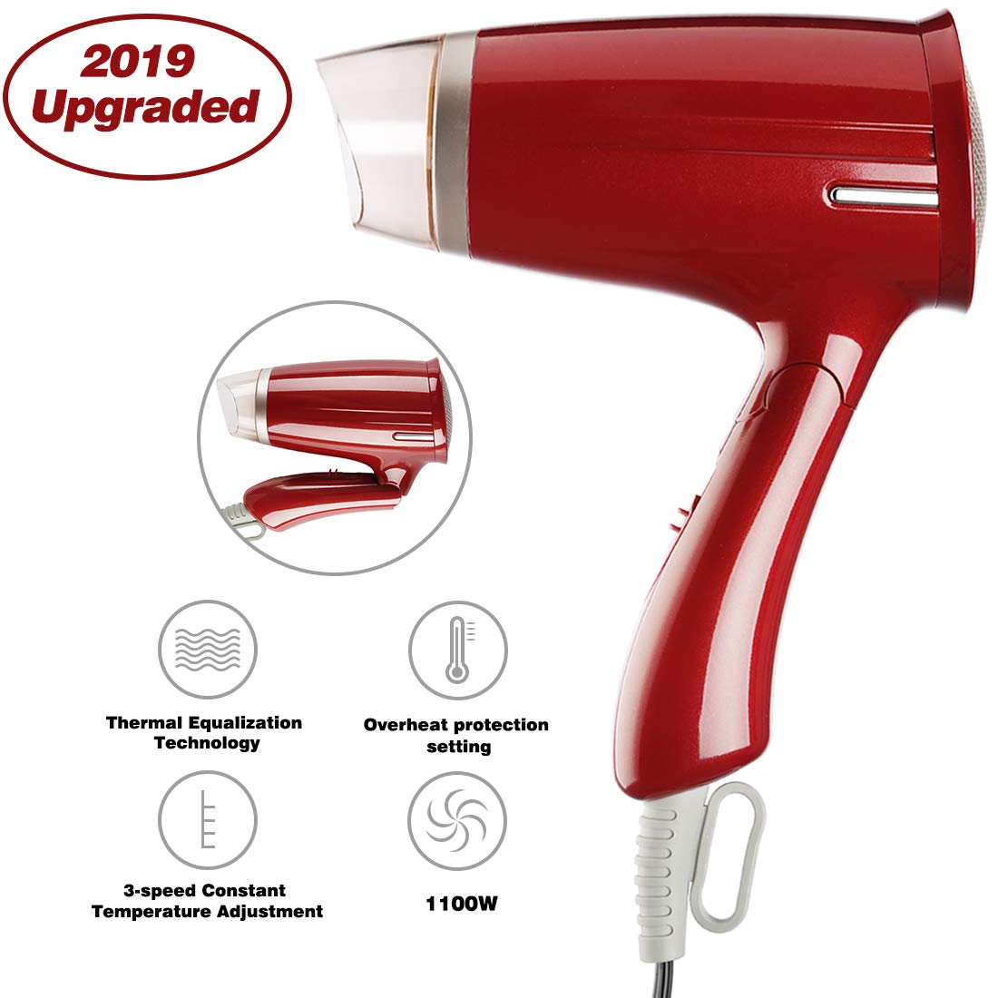 Compact Hair Dryer with Folding Handle, Travel Hair Dryer,Professional Salon Hair Dryer Negative Ionic Folding Blow Dryer 3 Settings Burgundy