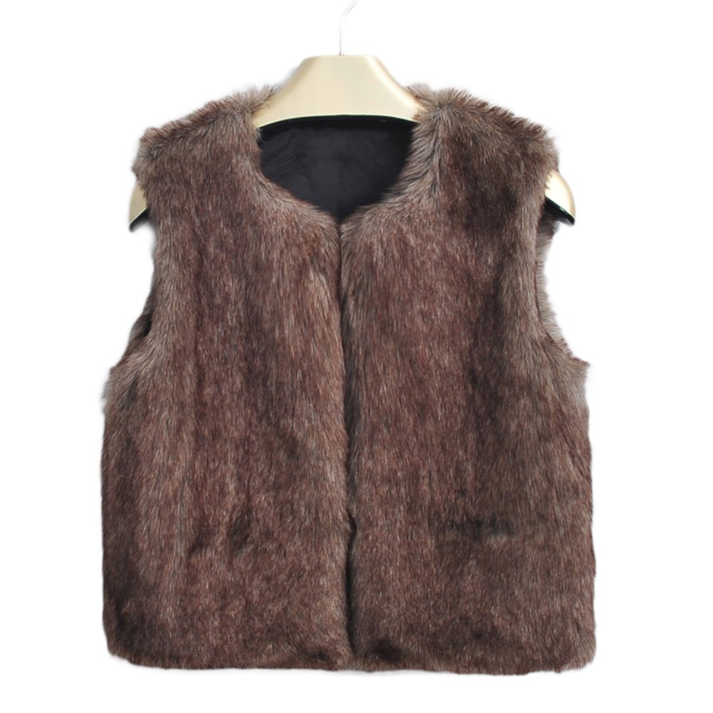 Unisex Baby Faux Fur Vest Warm Sleeveless Jacket Per