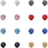 MOWOM Multicolor 6mm 8mm Stainless Steel Stud Earrings Ball Set