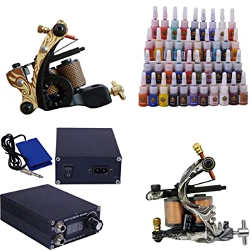 Amazon.com: Beginner Tattoo Kit with 2 Tattoo Machines Supply 20 ...
