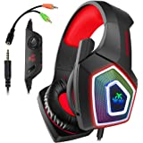 Swenter Gaming Headset für PS4, 3.5mm Surround Sound Kabelgebundenes Headset mit Mikrofon, Buntes LED-Licht, Kopfhörer für Laptop, Mac, Xbox One, Tablet, PC, Smartphone (Rot)