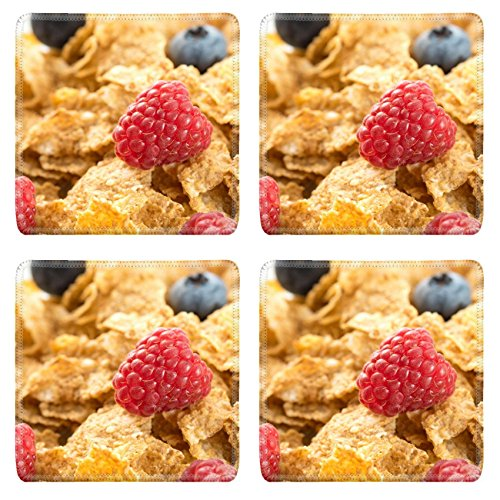 MSD Natural Rubber Square Coasters IMAGE ID: 32235925 Cereal flakes with fresh raspberry closeup
