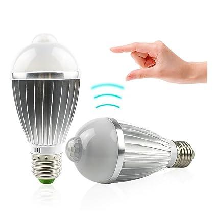 TOOSD E27 Sensor De Movimiento Bombilla 7W, Luz LED Inteligente Noche, para Escaleras,